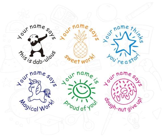 Personalized 6pcs Set Teacher Stamp Custom Self