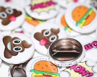 "50 or 100 Custom 7/8"" Buttons Badges Pins Pinbacks"