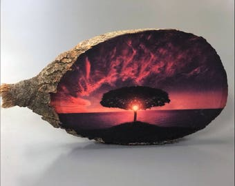 Wooden Home Decoration. Wood Photo Transfer