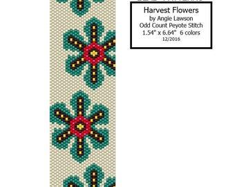 Harvest Flowers - Peyote Stitch Pattern Download - Odd Count