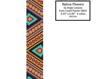 Native Flowers - Peyote Stitch Pattern Download - Even Count