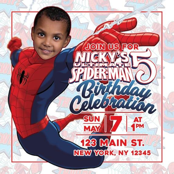 Personalized Spiderman Birthday Party Invitation Superhero Invite Spider-Man Spider