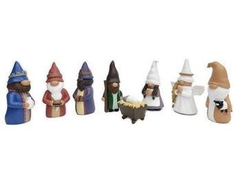 Madanar Gnome Nativity Christmas Scene Decoration 4 Inch Resin Figures 8 Piece Set Tier Tray Shelf Table Holiday Winter Decor
