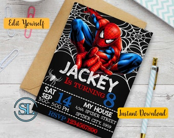 Spiderman Invitation Party Printable Invite Birthday Editable PDF