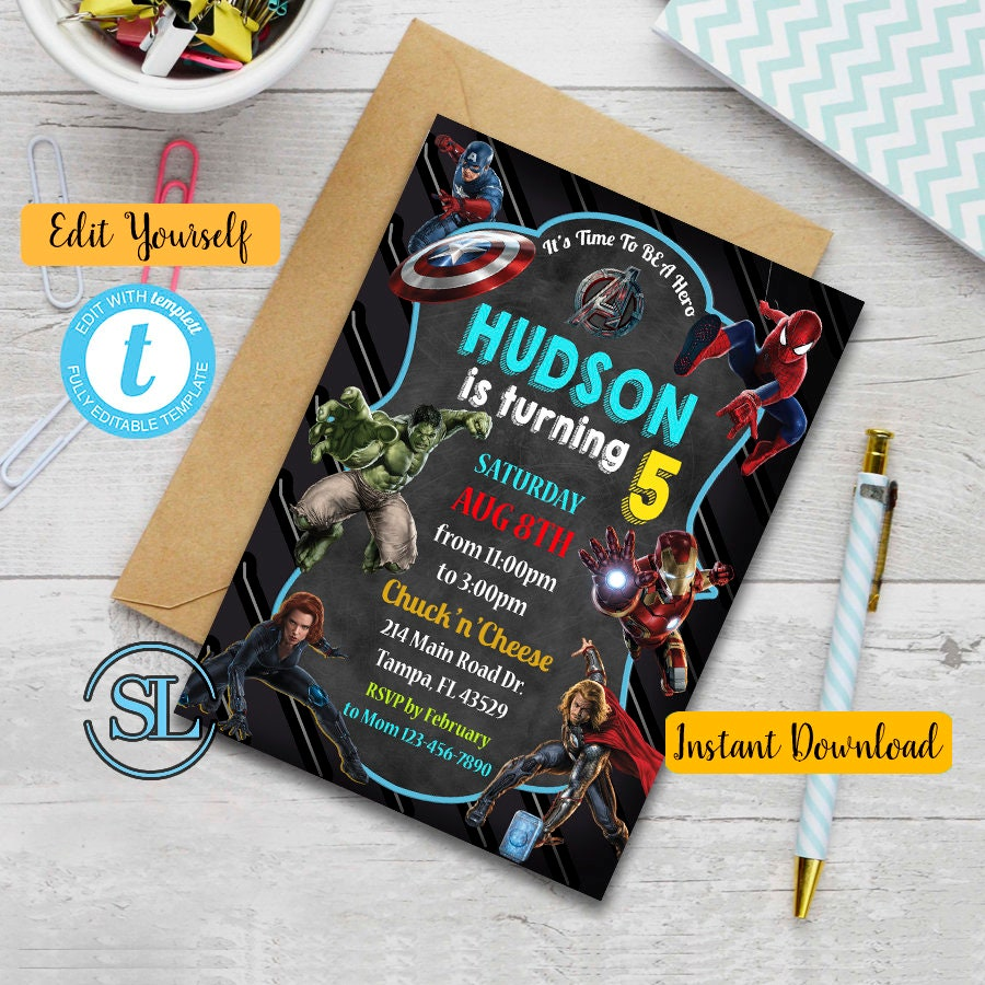 Avengers Birthday Invitation, Avengers Invitation, Avengers Birthday,  Avengers Party, Superhero Invitation, Superhero Birthday Invitation