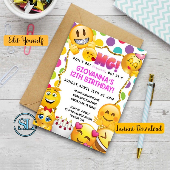 Emoji Birthday Invitation Themed