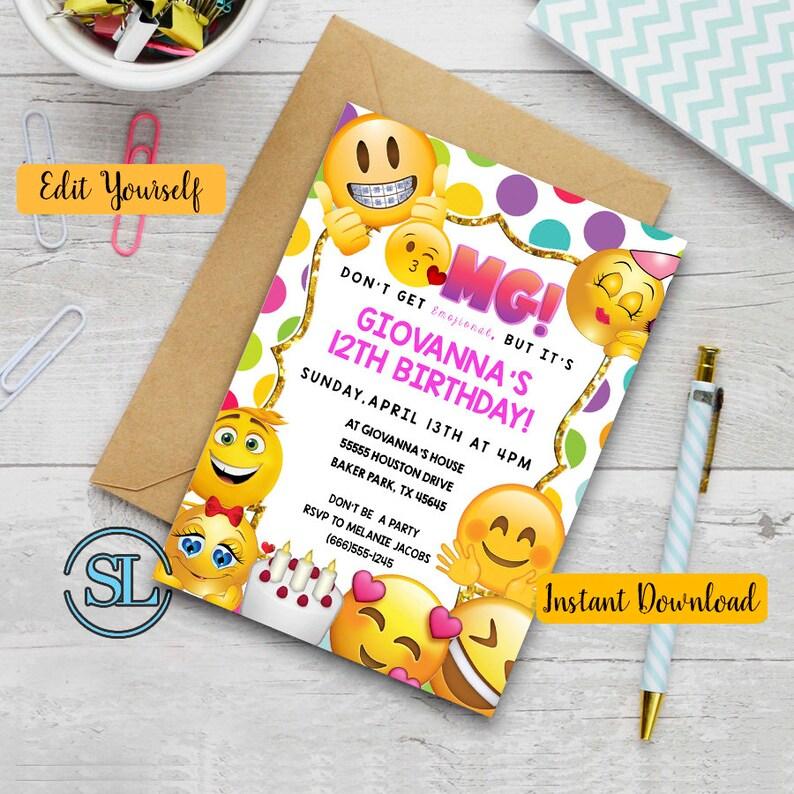 Emoji Birthday Invitation Themed