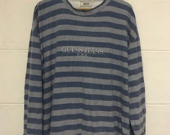 355960f3a7 Vintage 90s Guess Jeans Embroidered Stripe Long Sleeve Tshirt