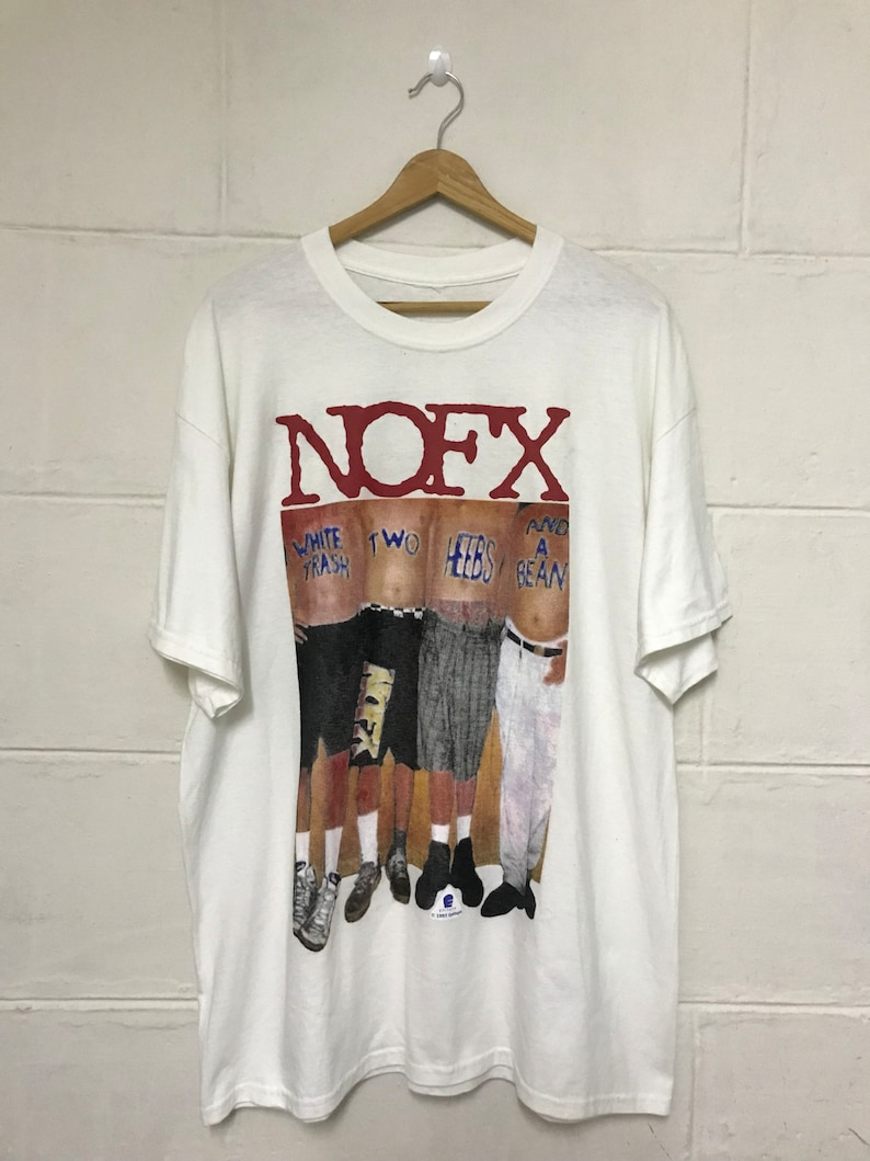 8b4e44318 Vintage Bootleg 90s Nofx Band Promo Album Tshirt White Trash