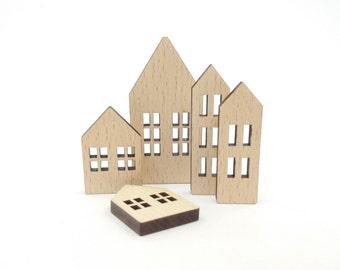 Set of 3 mini wooden houses unfinished wood house blank mini wooden houses diy wooden houses home decoration