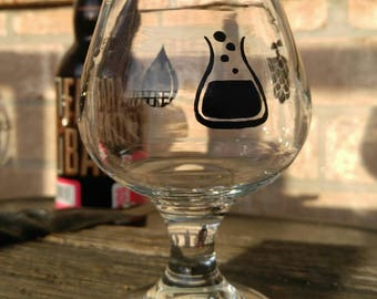 Hand painted 6 ounce beer glass, the four elements of beer