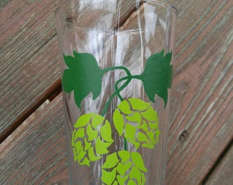 Pint glass, hand painted with hops