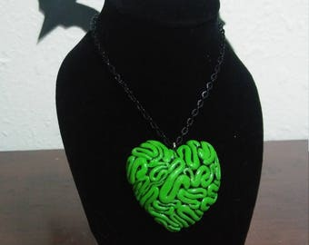 Zombie brain heart necklace