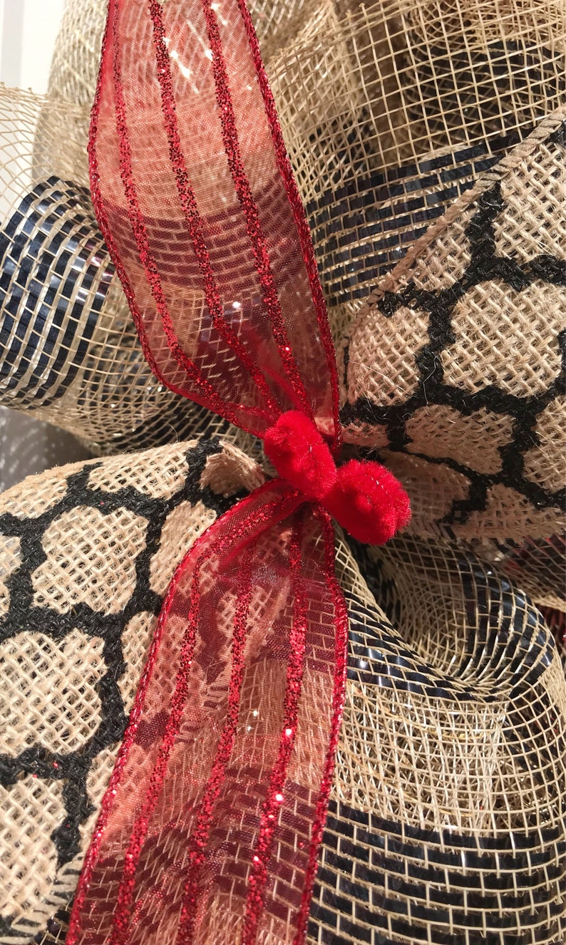 daily wreath, pet lovers paw print custom order cat wreath large bow black and red front door decor You had me at meow pet wreath