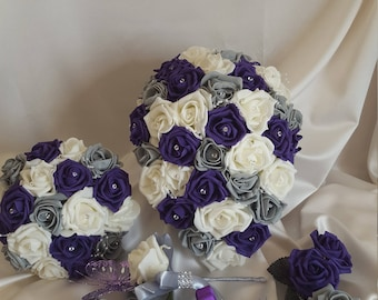 Free Delivery Wedding Flowers Created in Cadbury/'s Purple /& Ivory Roses
