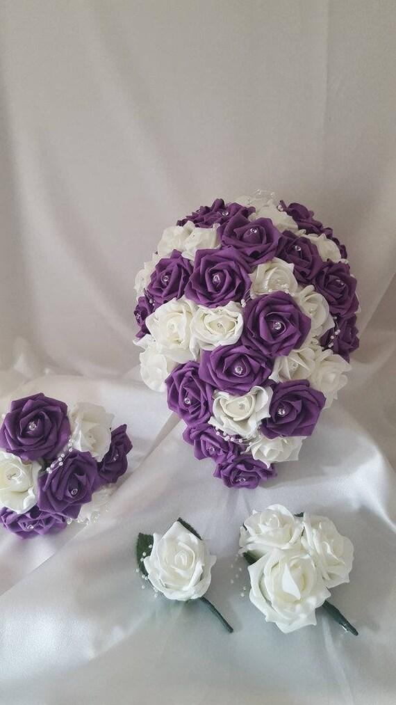 Purple Bridesmaid Lilac /& White Wedding Flowers Brides Bouquet Buttonhole