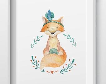 Woodland animal fox nursery print