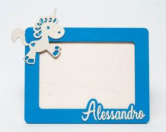 a72861922d Portafoto bambini, regalo personalizzato, Quadretto compleanno, Cornice  legno, Cornice unicorno, Cornice per bambini, Nomi legno
