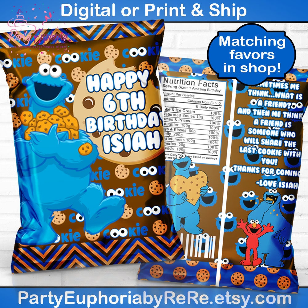 Cookie Monster Birthday Sesame Street Favors Chip Bags