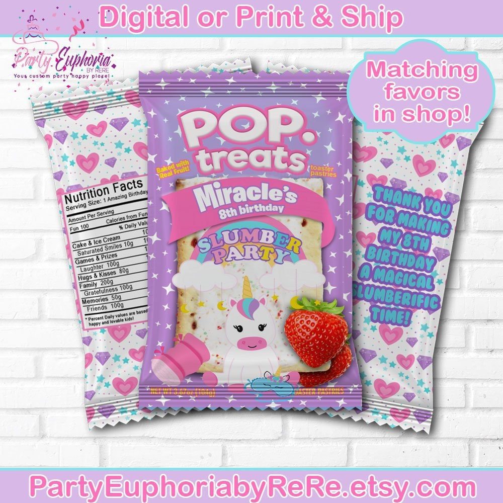 Unicorn Slumber Party Pop Tart Labels Treats
