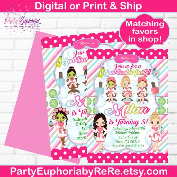 Invitations Spa Party Ty Juice Label
