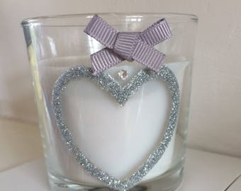 Scented Sweet vanilla glitter heart candle 7.5cm hand decorated