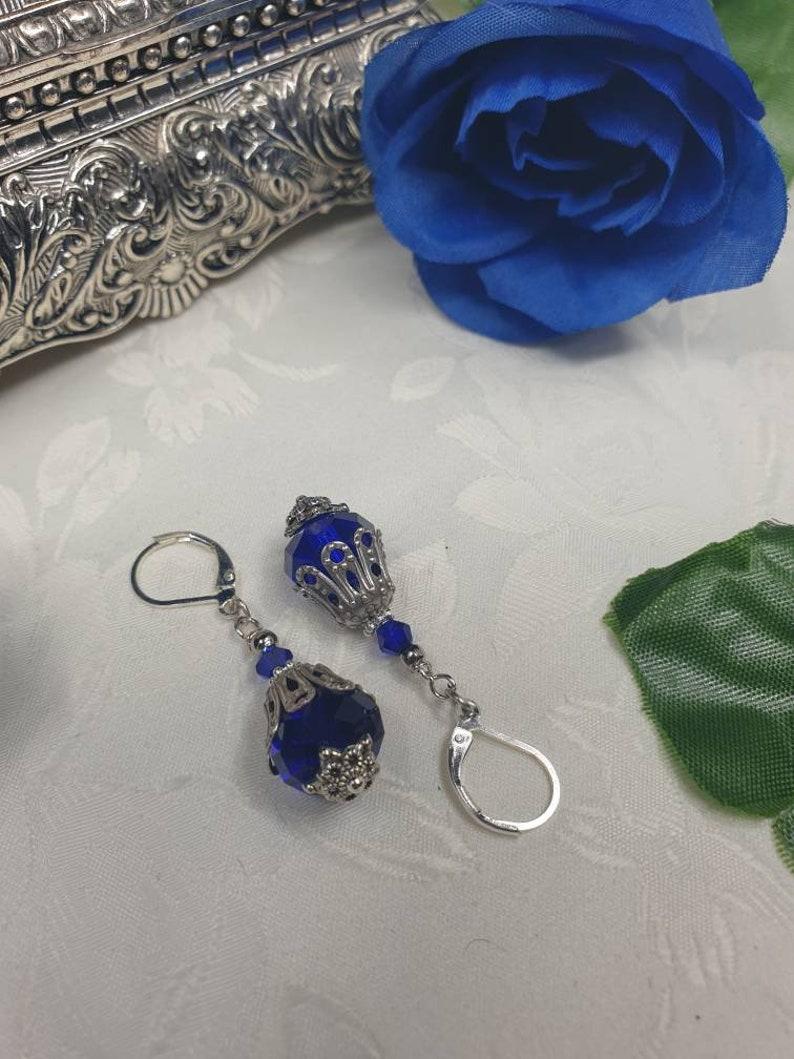 Sapphire Sterling Silver Victorian Revival Antique Filigree Wedding Pendant /& drop earrings Bridal set SteamEmpressDesigns