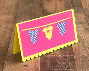 Baby Onesie Card - Pink, Yellow, & Navy