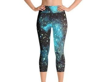 208519ff497c9 Cue Yoga Capris - Space Theme Yoga Capris for Women Handmade in the US -  Comfort Capri Yoga Pants - Yoga Leggings Capri - Yoga Capri Pants