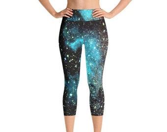 d2041636a1f Cue Yoga Capris - Space Theme Yoga Capris for Women Handmade in the US -  Comfort Capri Yoga Pants - Yoga Leggings Capri - Yoga Capri Pants