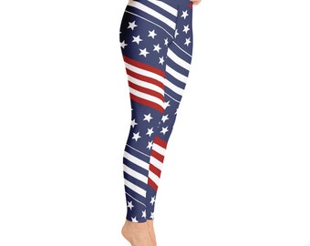 a356d37488560 US Flag Yoga Pants - American Yoga Leggings for Women Handmade in the US -  Comfort Capri Yoga Pants - Yoga Leggings Capri - US Flag Leggings