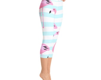 83ef76753c Fun Flamingo Fruity Yoga Capris - Yoga Gift Capris for Women Handmade in  the US - Capri Yoga Pants- Yoga Leggings Capri-Yoga Gifts Yogi