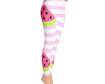 11681206bbb67 Cute Watermelon Yoga Leggings (Free Shipping) Squat Proof Women's Yoga  Leggings - Made in the US - Activewear Gym Leggings - Yoga Pants