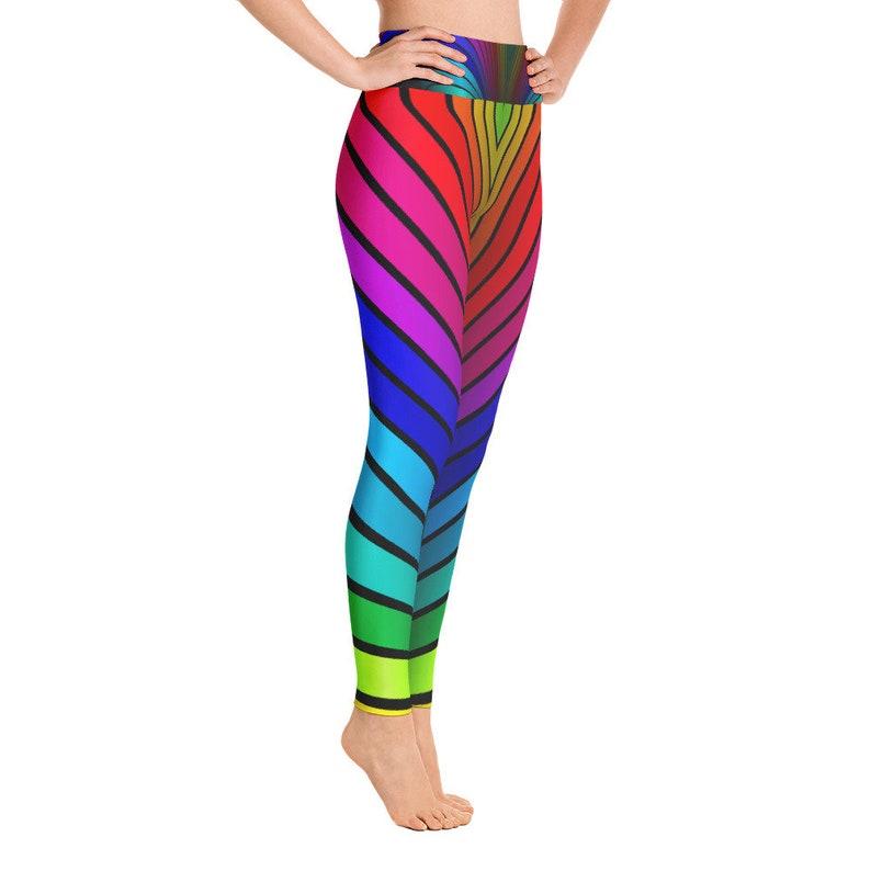 58212dcd9625bd Rainbow Stripe Yoga Leggings Rainbow Flag Squat Proof | Etsy