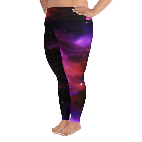 Rosy Purple Galaxy Print Plus Size Yoga Bra