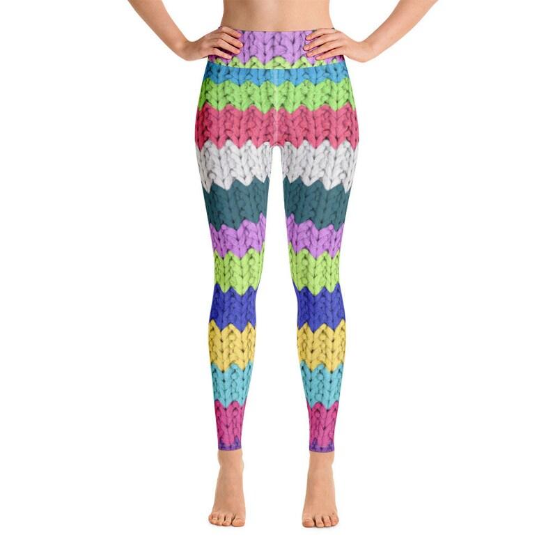 Knit Yoga Pants Squat Proof Women/'s Yoga Leggings Made in the US Activewear Gym Leggings Cute Knit Print Yoga Leggings Free Shipping