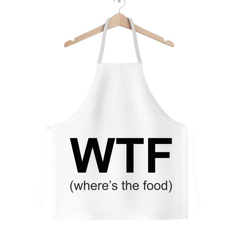 Funny Gift Apron Perfect Kitchen Gift for a Wife or Husband Handmade Novelty Apron Xmas Gift for Cooking Lovers WTF Where/'s the Food