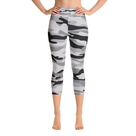 40bfc5d2c1be2 Black Grey Camo Yoga Capris Camouflage Yoga Capris for Women | Etsy
