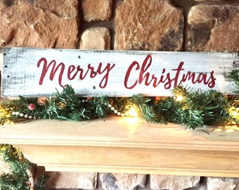 rustic merry christmas wood sign rustic christmas decor holiday sign christmas wall decor reclaimed wood sign mantle decor - Christmas Wall Decor