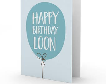 Doric 'Happy Birthday Loon' card by Bramble Graphics