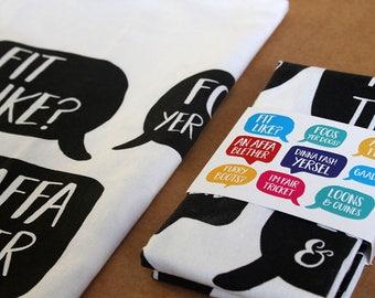 Doric Phrases Tea Towel by Bramble Graphics