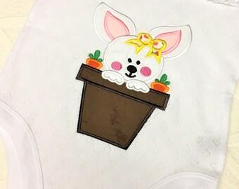 Baby Girls Easter Shirt, Girls Easter Shirt, Girls Easter Top, Girls Easter Bunny Top, Easter Gift, Girls Gift, Bunny in Pot Shirt, Bunny