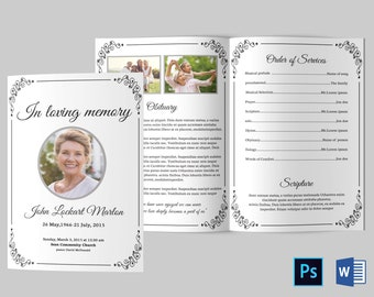 funeral template etsy