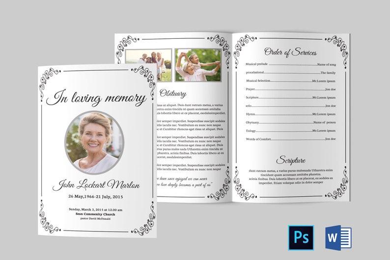Sample Funeral Program | Funeral Program Template Funeral Program Template Word Etsy