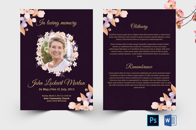 Floral Funeral Memorial Card Template Funeral Program  Etsy With Regard To Memorial Card Template Word