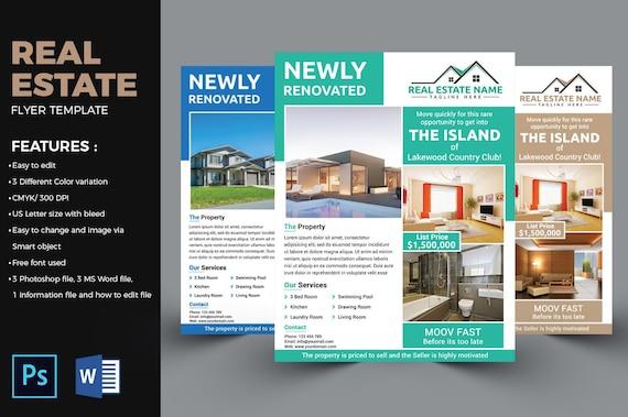 real estate flyer template real estate flyer realtor flyer etsy