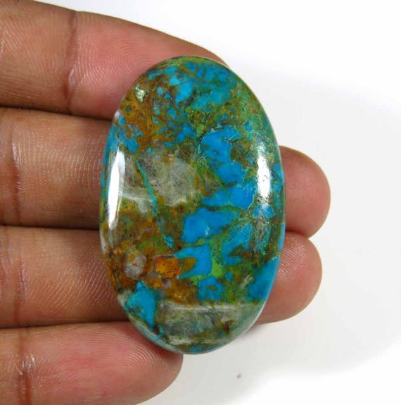 Natural Chrysocolla Malachite Cabochon Beautiful Chrysocolla Malachite Gemstone Malachite Loose Stone 144Cts 45x41x7mm Top Grade AAA