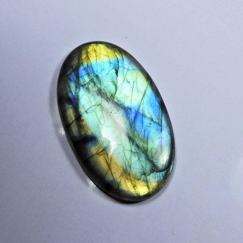 Glorious~ Blue Labradorite Cabochon Natural Blue Flash Labradorite Gemstone 61x35mm Oval Shape Handmade Spectrolite Labradorite jewelry use