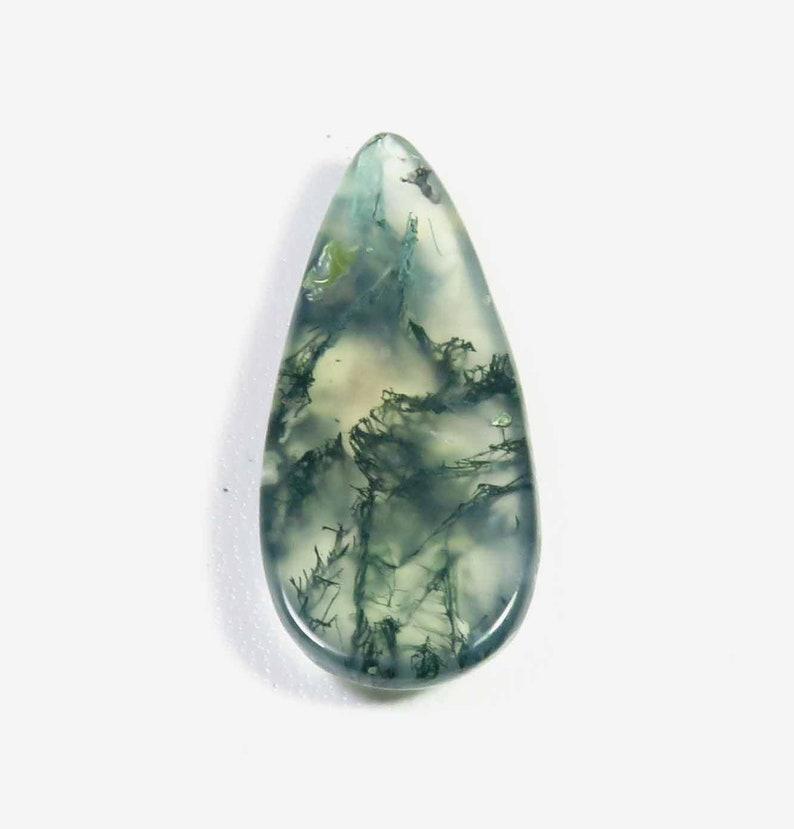 36x16mm SUPEREST~ Seaweed Green Moss Agate Gemstone Pear Shape Moss Agate For Jewelry Moss Agate Cabochon MX-4328 Natural Moss Agate