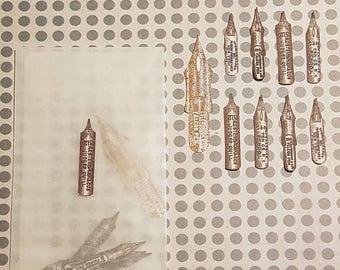 Pen nib stickerset, 9 pieces